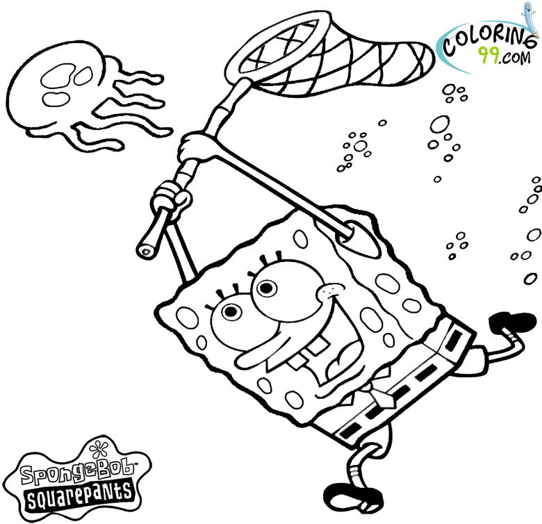 Spongebob And Jellyfish Coloring Pages