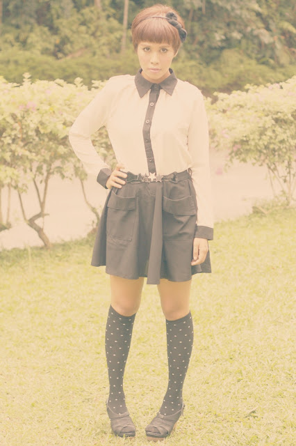 lookbook, disney looks, outfit, minnie mouse inspired outfits, black, skirt, polka dotted socks, vintage dress, silkytrend