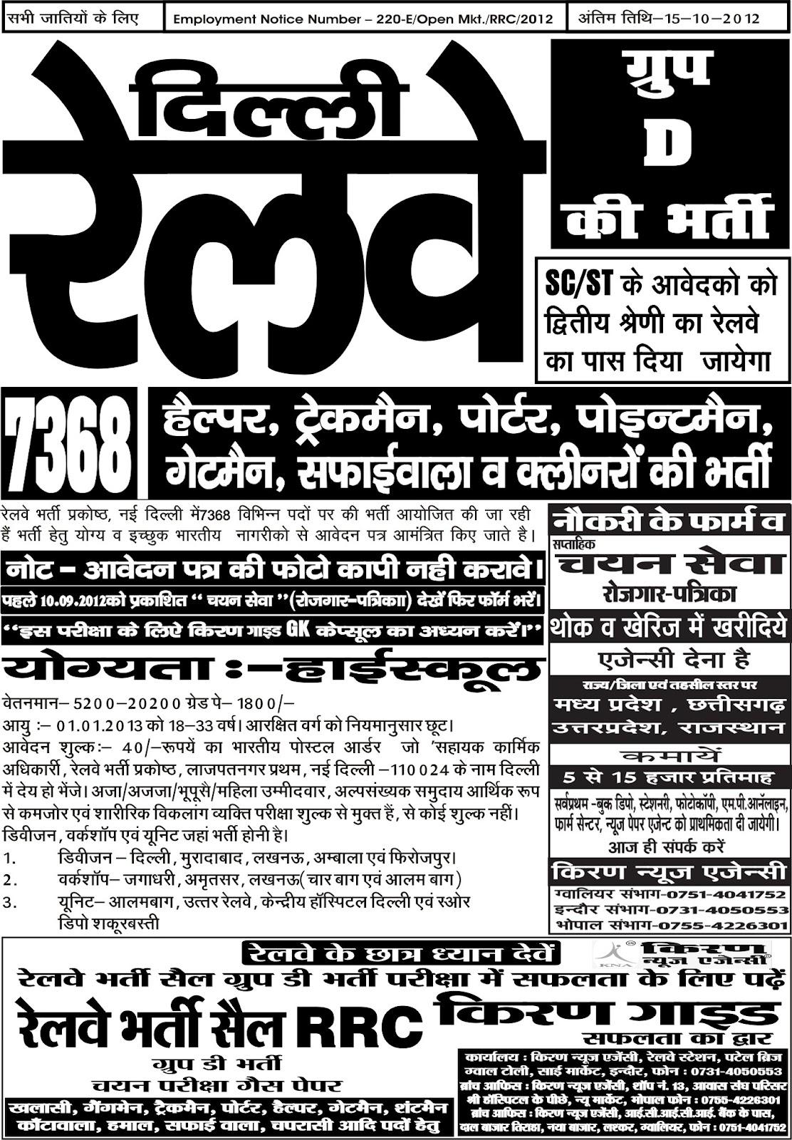 M.P. Job Vacancy 2016