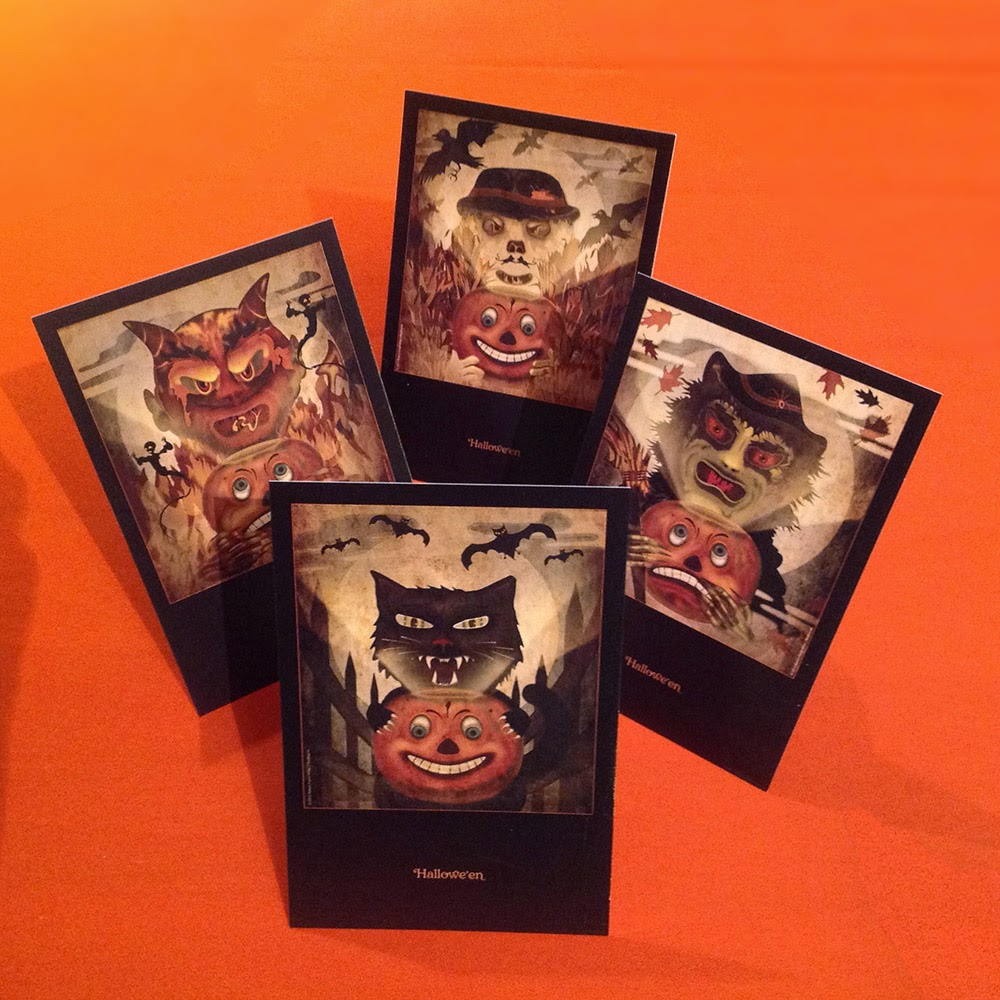 German-style art as inspiration, Bindlegrim art features Halloween Jack O'Lantern with devil, witch, scarecrow, and black cat.