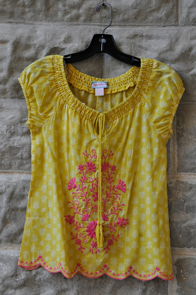 Canary yellow top with pink embroidery