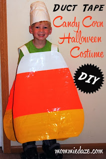 Candy Corn costume made from Duct Tape