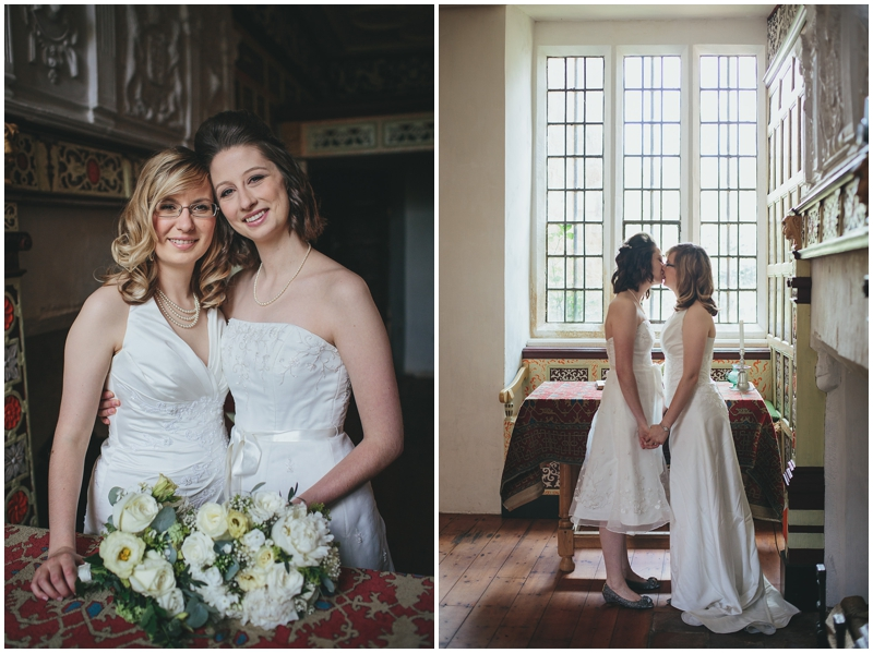 Two brides kissing at St Nicholas Priory, Exeter