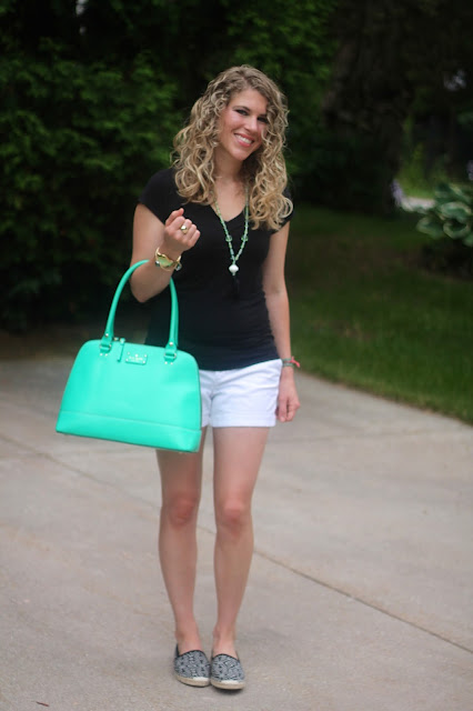 black tee, white shorts, espadrilles, mint kate spade bag, tassel necklace