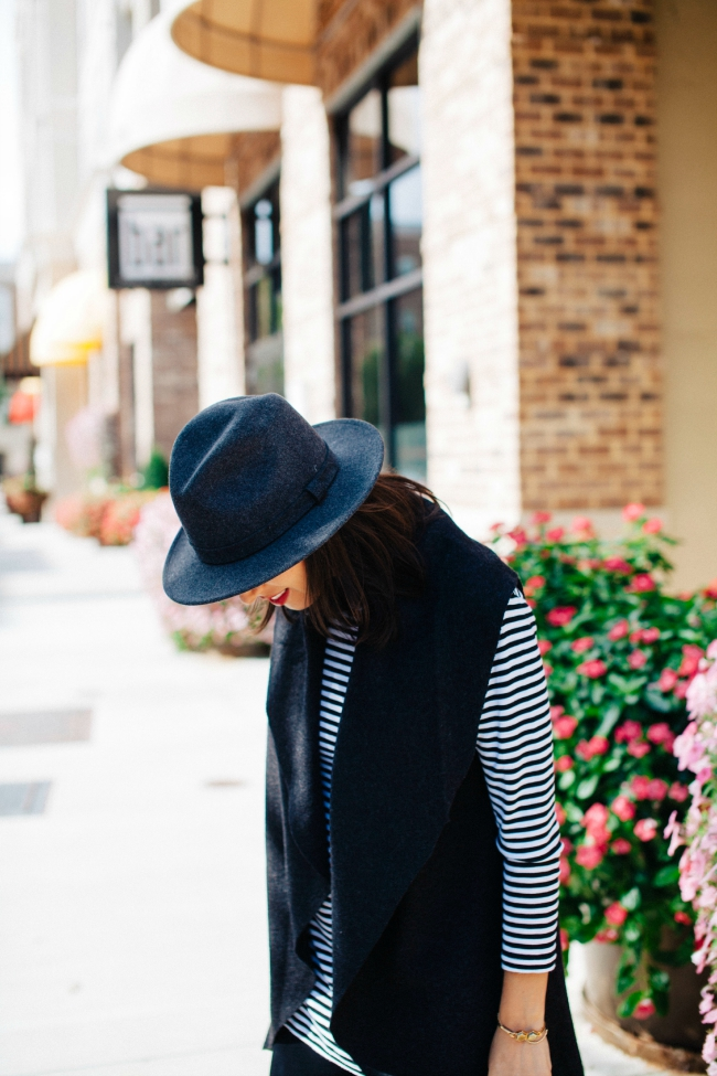 fall hat, striped tunic