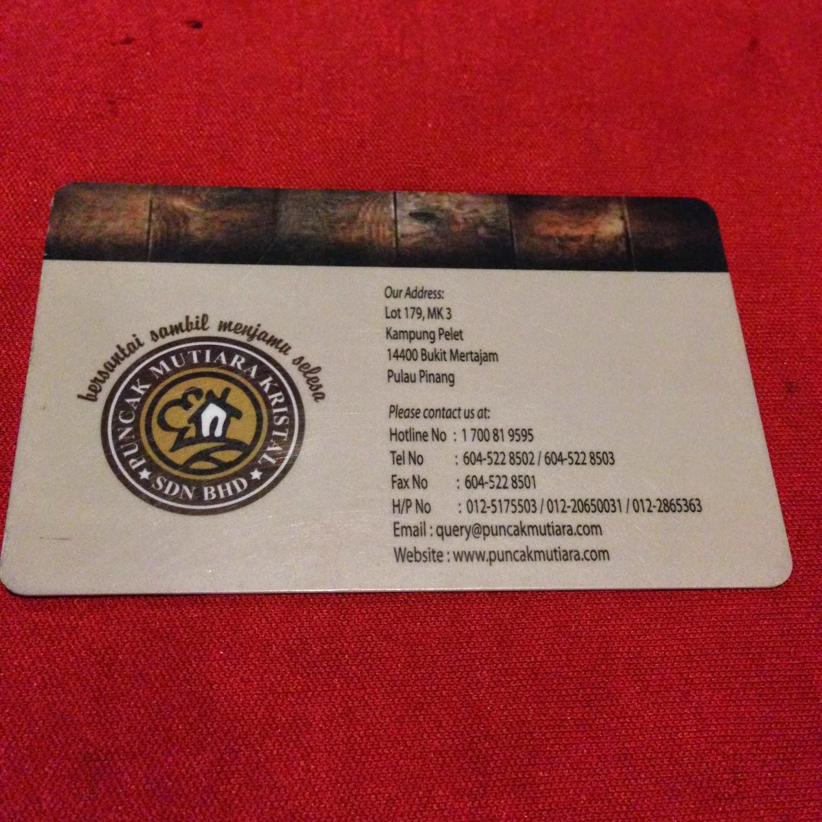 Puncak Mutiara Cafe card