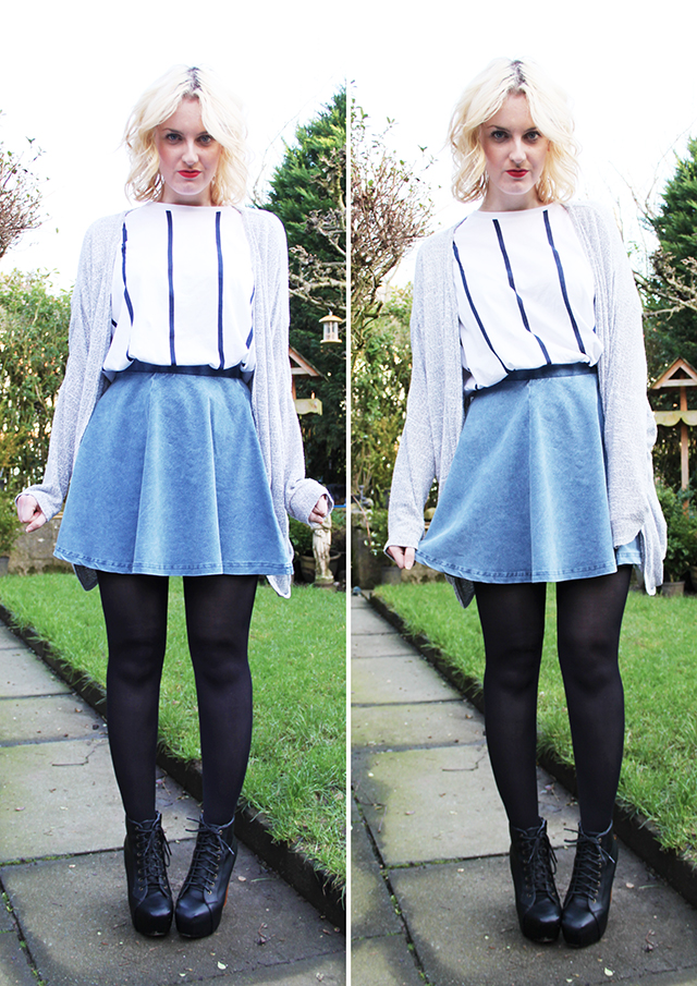 Denim shirt and skater skirt