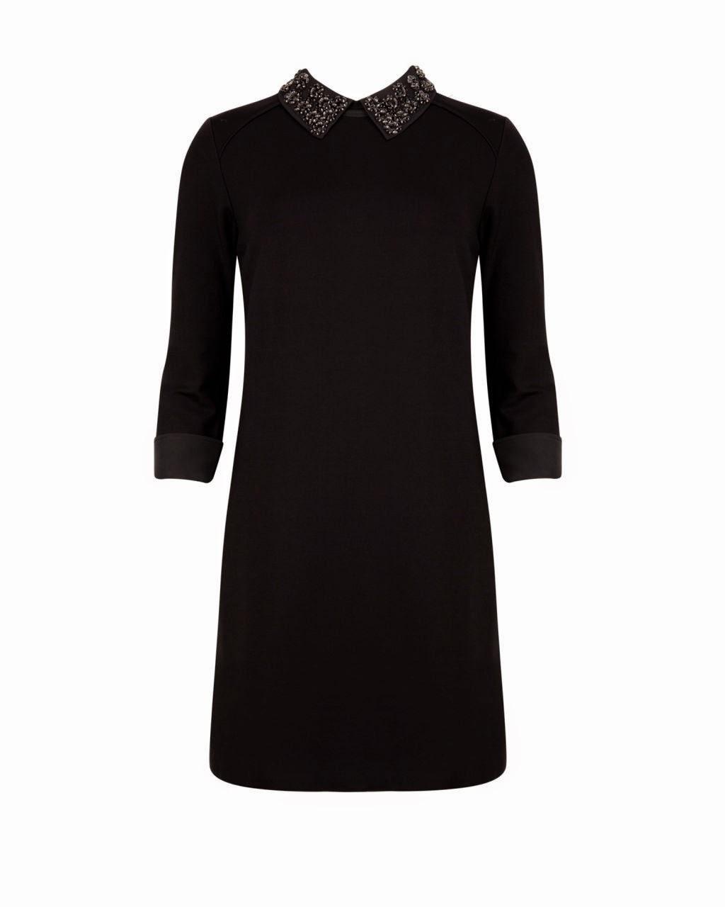 ted baker black collar dress, black collar dress, embellished collar dress,