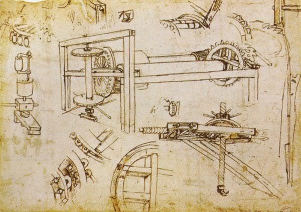 Grúa de tres velocidades diseñada por F. Brunelleschi. Leonardo da Vinci