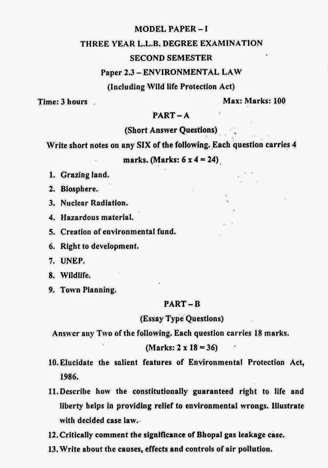lawdetails pot in environmental law semister sv model paper 1 page 1