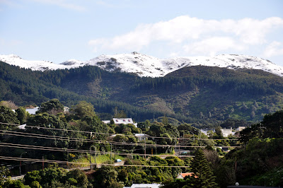 Snow on the hills to the north-west