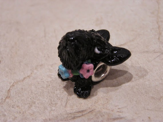 "Scottish Terrier Scottie ""Little Toes"" European Large Hole Polymer Clay Dog Bead with flowered collar for European Bracelet"