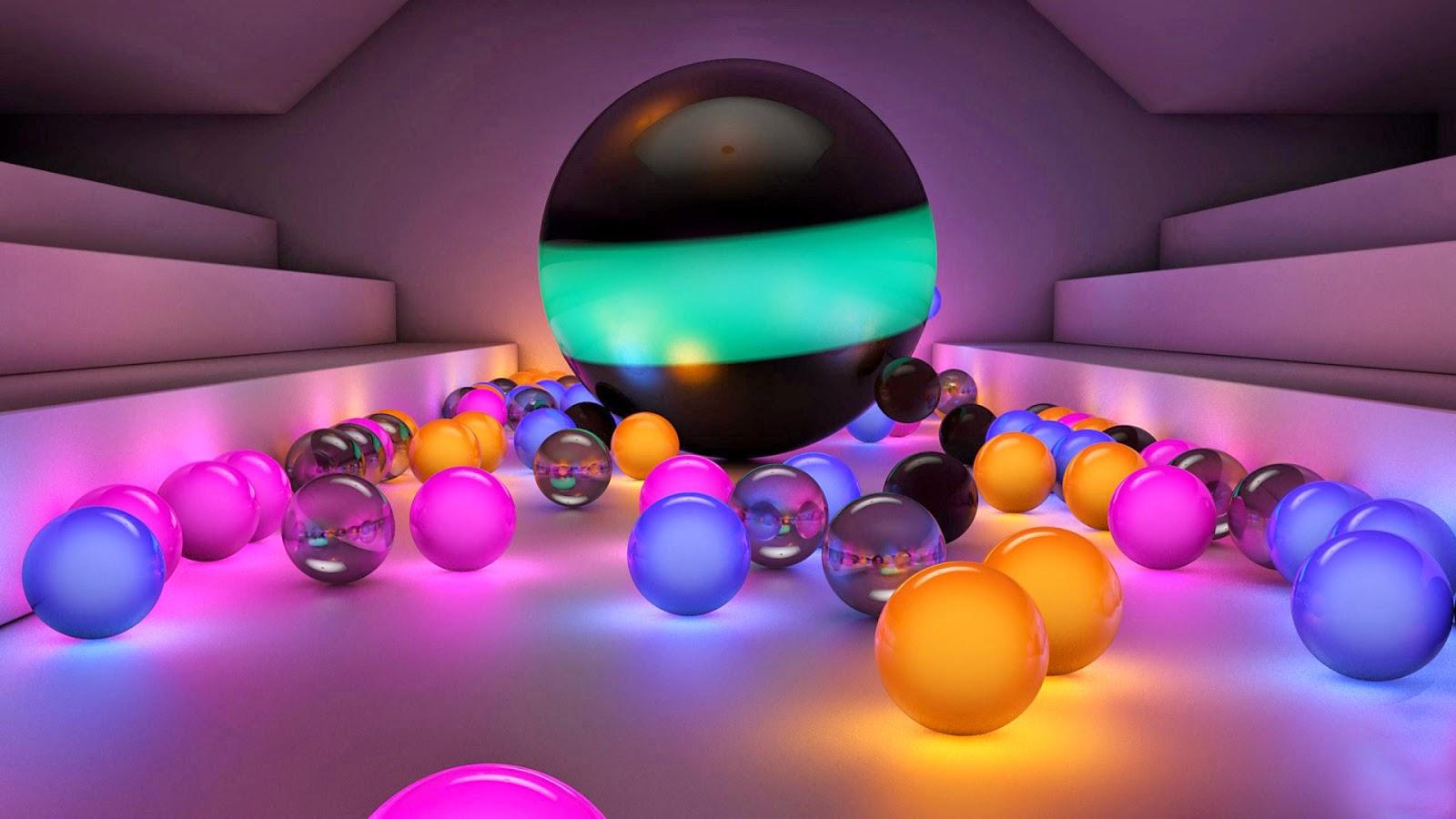 3D colorful balls hd wallpaper free