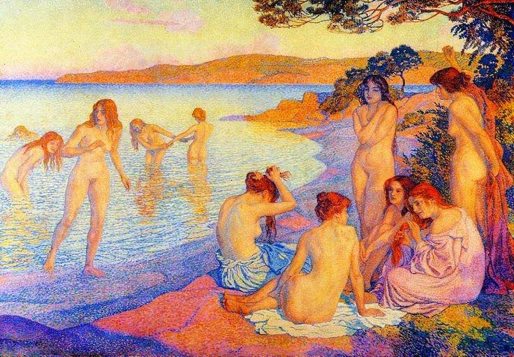 histoire de l'art analyse de tableaux impressionnistes et impressionnisme , scènes de vie femme nues dans l'eau , scènes de baignade ,   naïades sirènes tableaux images romantiques féériques