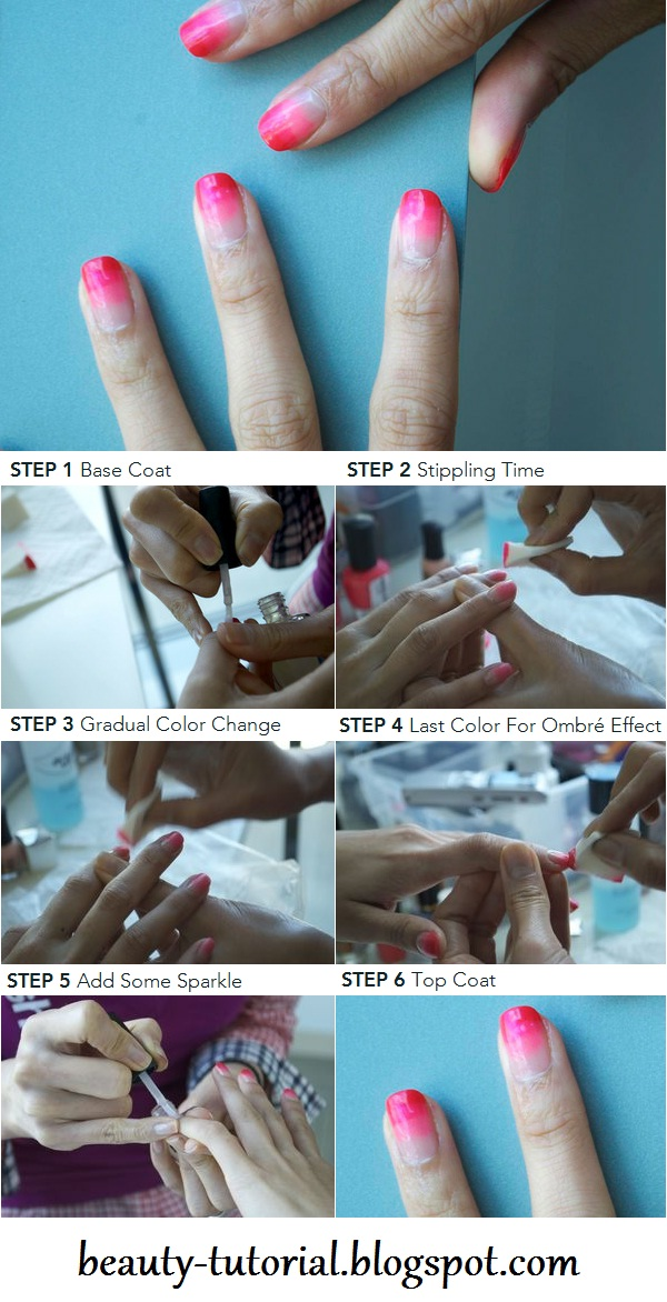 how to give yourself ombre stain manicure tutorial