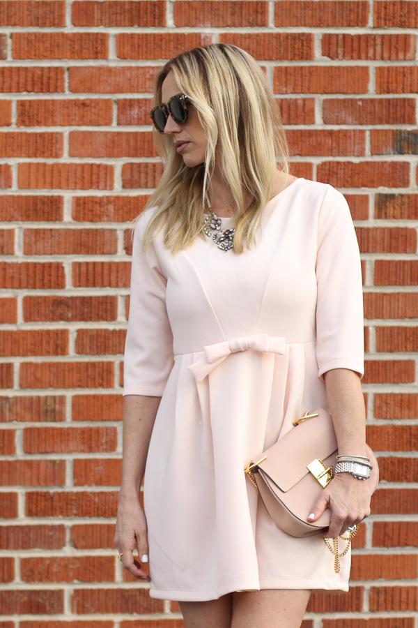 parlor girl blush pink dress blush chloe drew bag nude heels