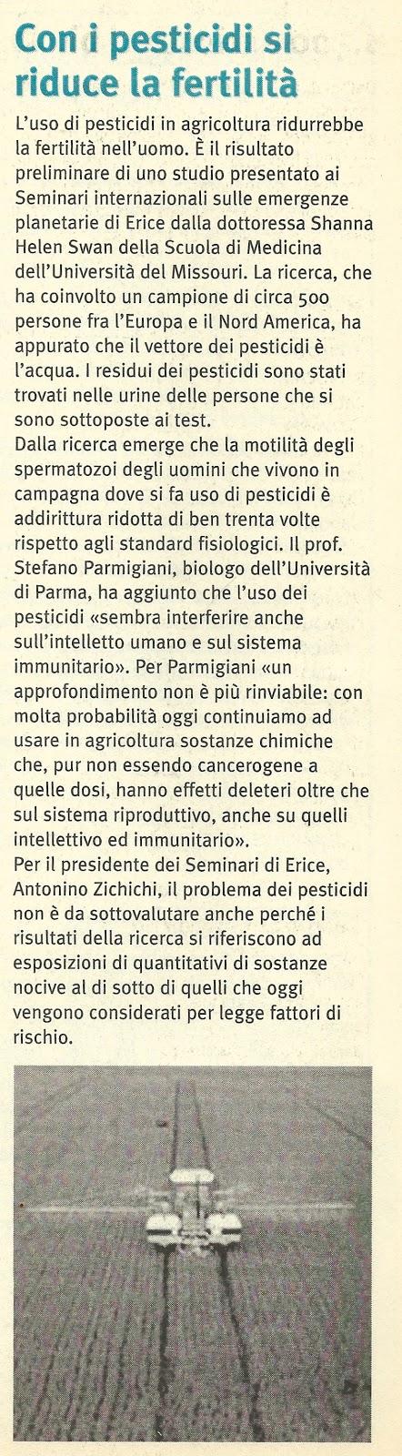 pesticidi rischio fertilità