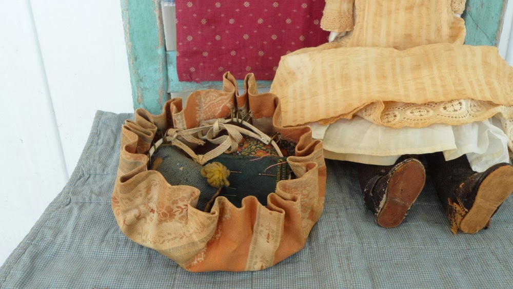 1800's calico sewing bag museum quality.
