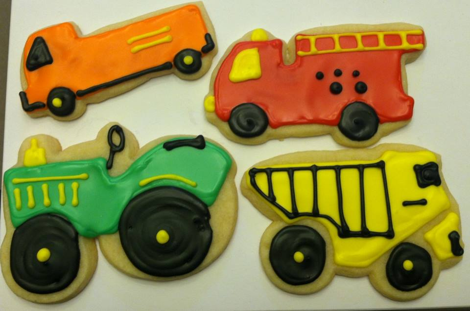 Pick Up Truck, Fire Truck, Tractor, and Dump Truck Cookies