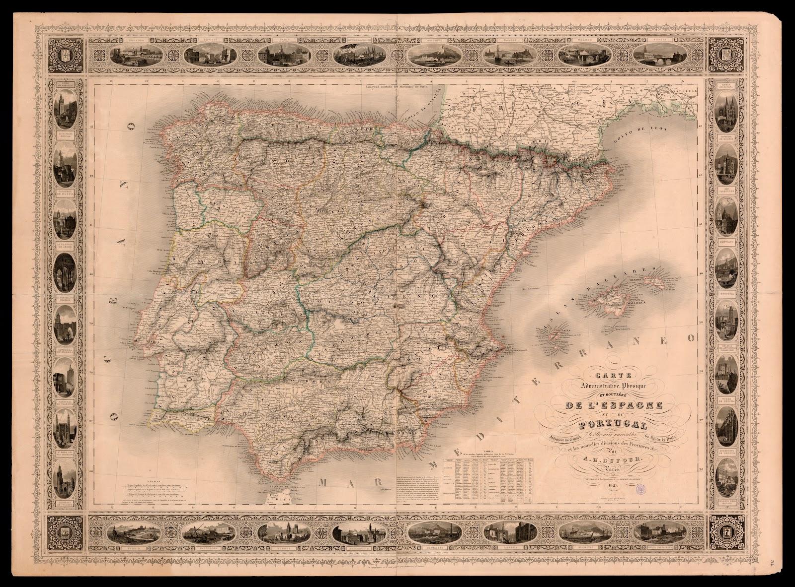Henri Dufour mapa de España y Portugal 1847