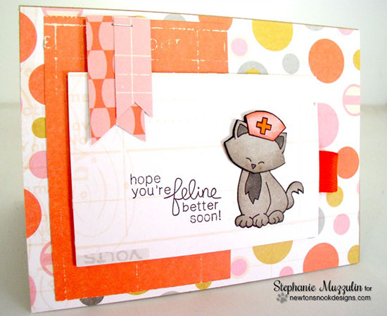 Get Well Cat card by Crafty Stephanie Muzzulin | Newton's Sick Day Stamp set by Newton's Nook Designs