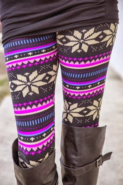Adorable Colorful Leggings With Black Long Boots