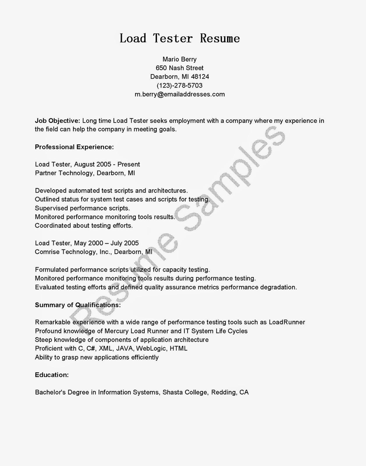 resume samples  load tester resume sample