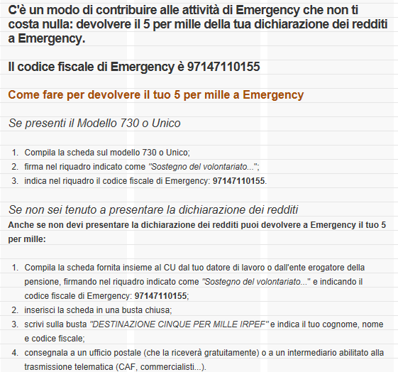 5 per mille ad EMERGENCY