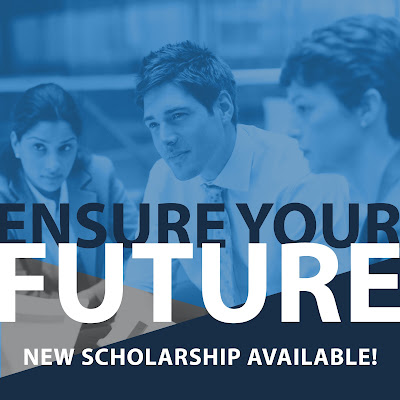 Poster for scholarship.  Image of three peopel gathered around a table.  Text: Ensure Your Future.  New Scholarship Available!