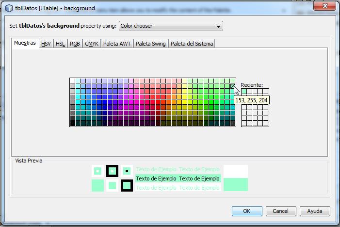 Clic sobre el color a escoger para el fondo de las celdas del JTable