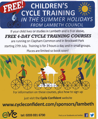 Lambeth cycle training courses flyer on lambethcyclists.org.uk