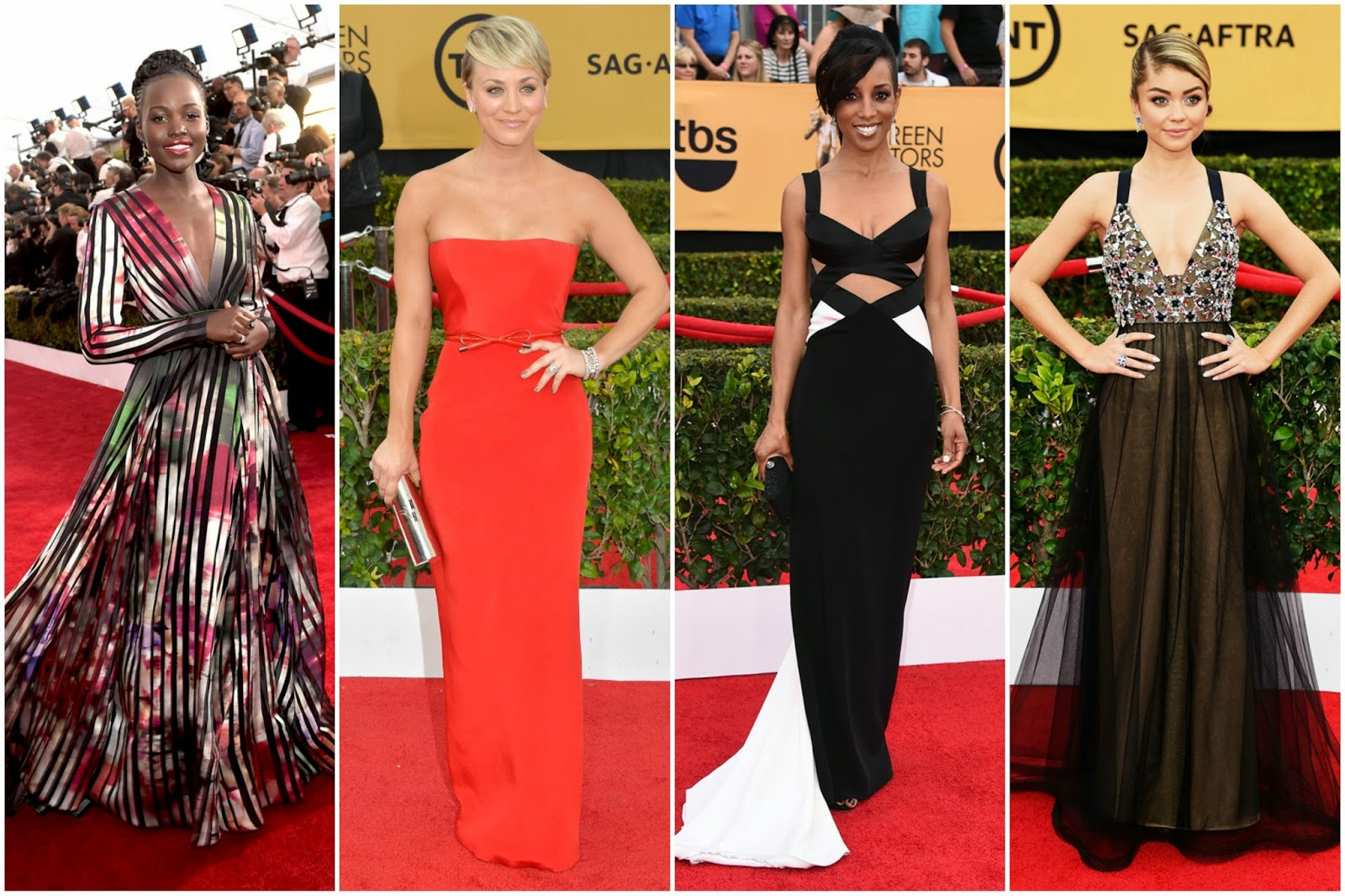 Best Dressed SAG Awards 2015 lupita nyong'o kaley cuoco sweeting shaun robinson sarah hyland