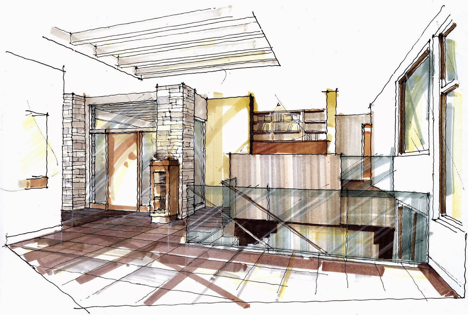 Modern Architecture Interior Sketch