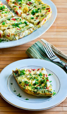 Slow Cooker Frittata Recipe with Artichoke Hearts, Roasted Red Pepper, and Feta found on KalynsKitchen.com