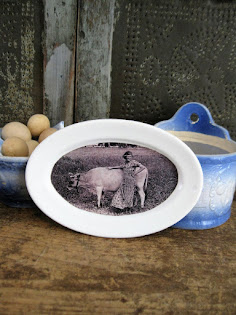old ironstone platter with photo print