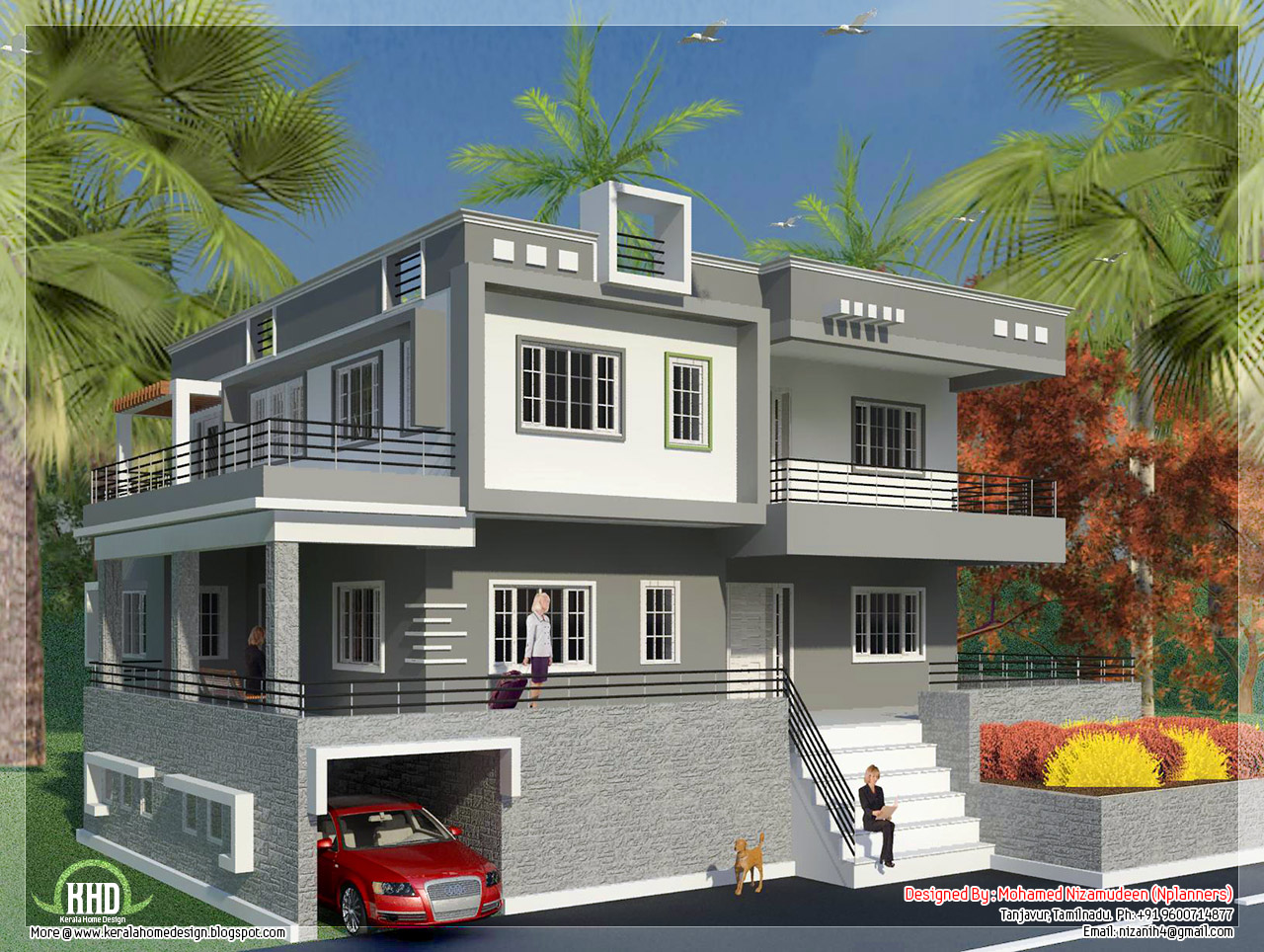 North indian style minimalist house exterior design for Minimalist house design kerala