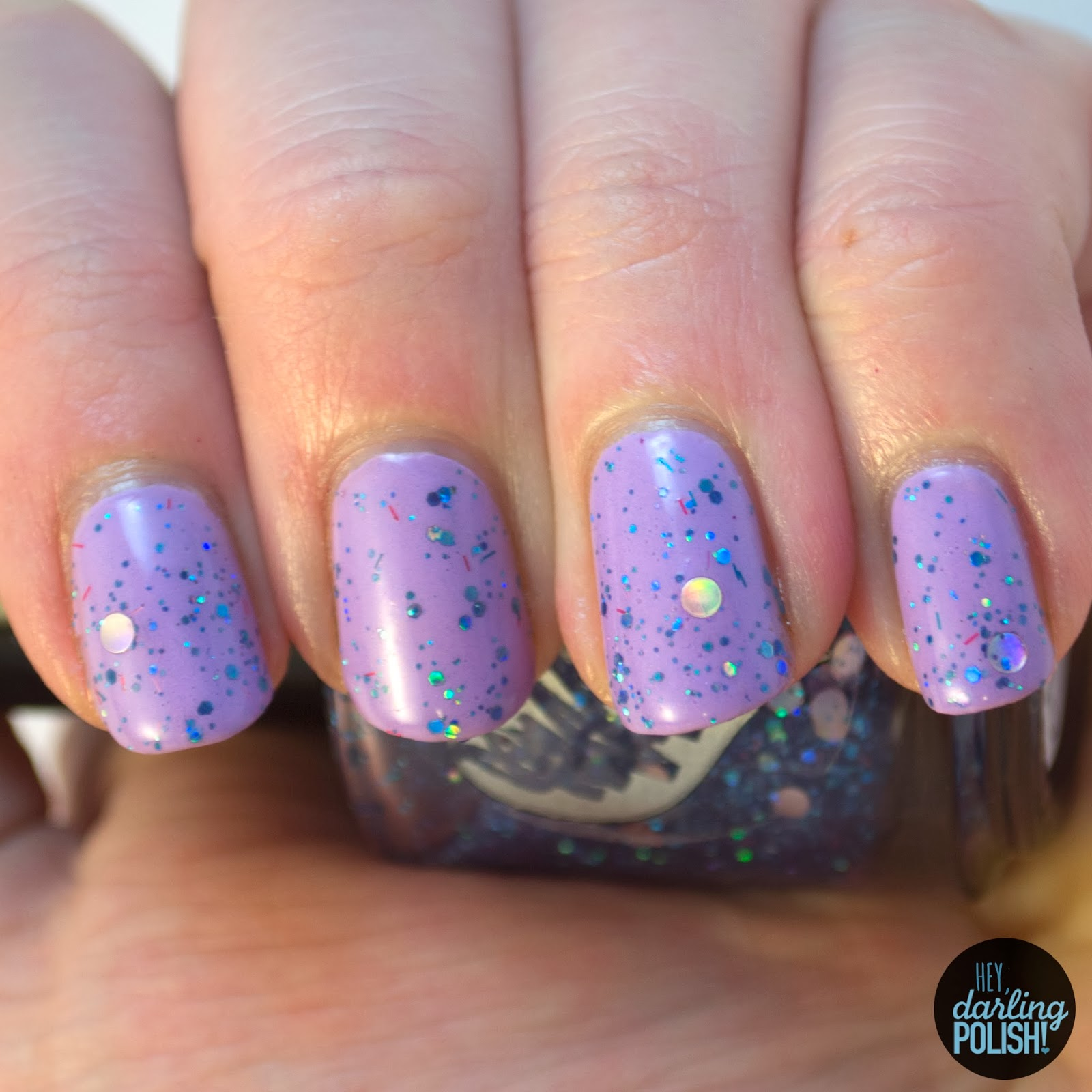 hey darling polish, swatches, indie, indie polish, cascade polish, purple, magic of the night, blue, glitter, circle glitter