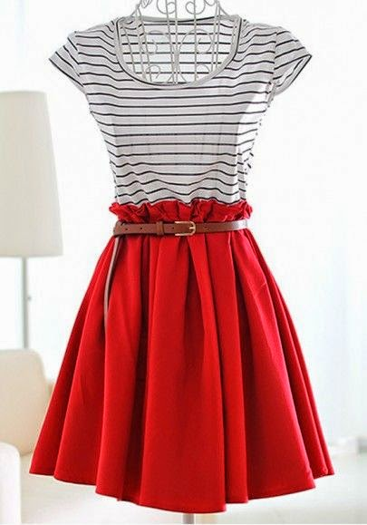 find more women fashion ideas on red dress &white blouse