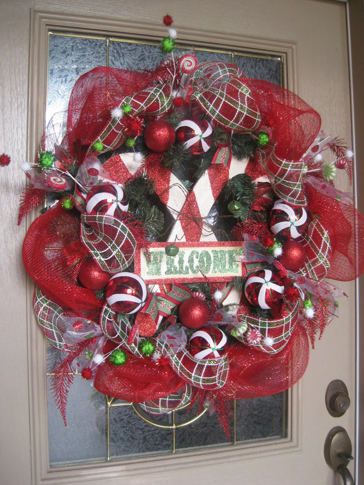 Kristens Creations Candy Cane Mesh Wreath