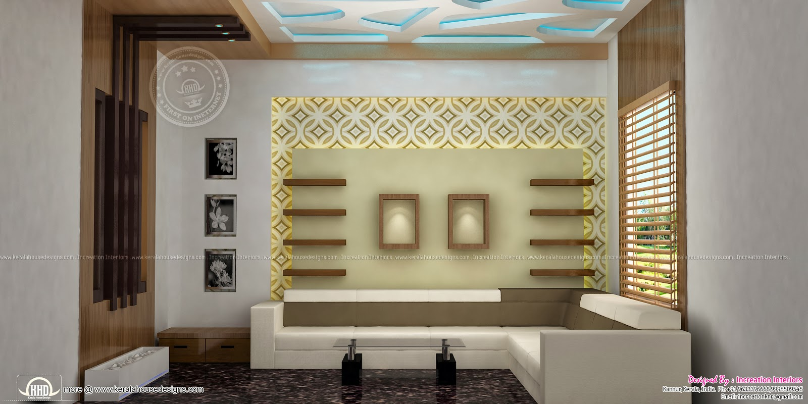 Home interior designs by increation kannur home kerala for Kerala home living room designs