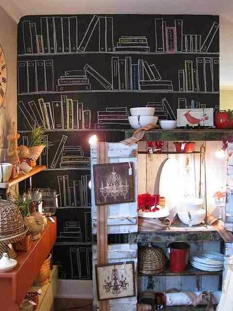 Farba tablicowa na ścianie, rysunki i inspiracje na farbie tablicowej, biblioteczka namalowana na ścianie z farbą tablicową