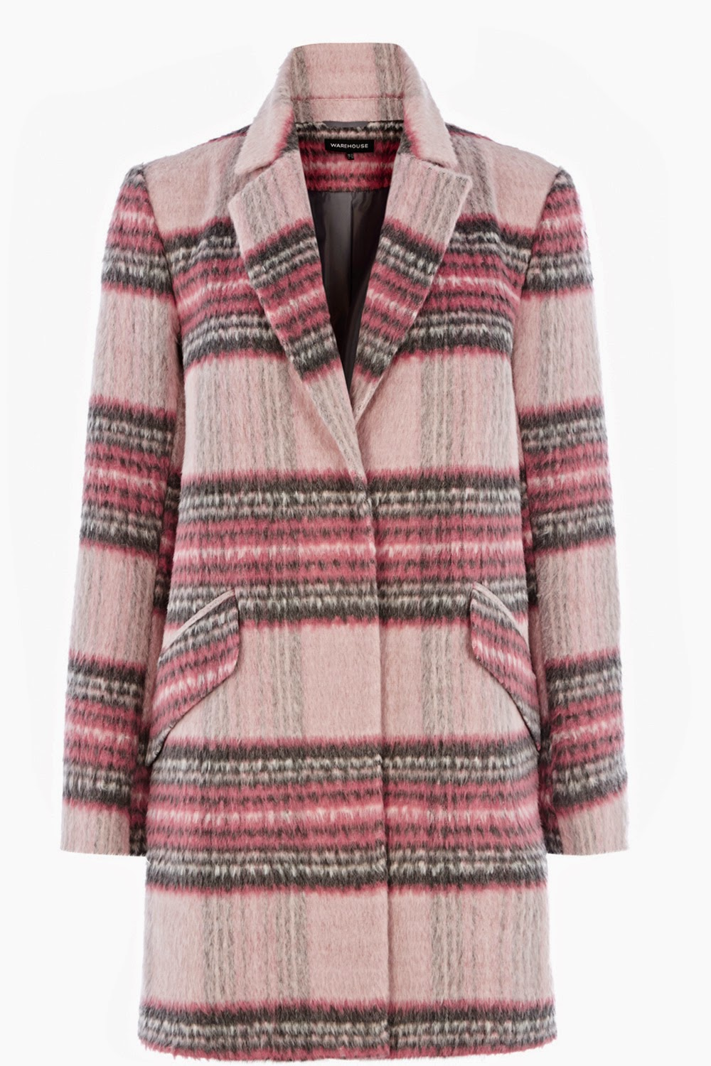 pink checked coat