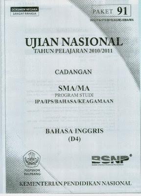 Naskah Soal Un Bahasa Inggris Sma 2011 (Paket 91)