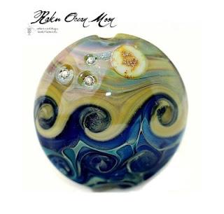 Raku Ocean Moon Bead handmade lampwork focal with Fine Silver  by RadiantMindBeads