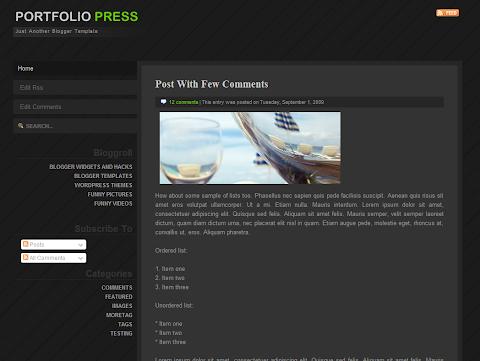 Portfolio Press Blogger Theme