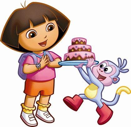 Dora y botas con tarta de cumpleaños