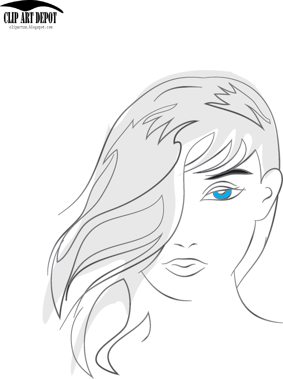 beauty face girl sketch portrait colored illustration