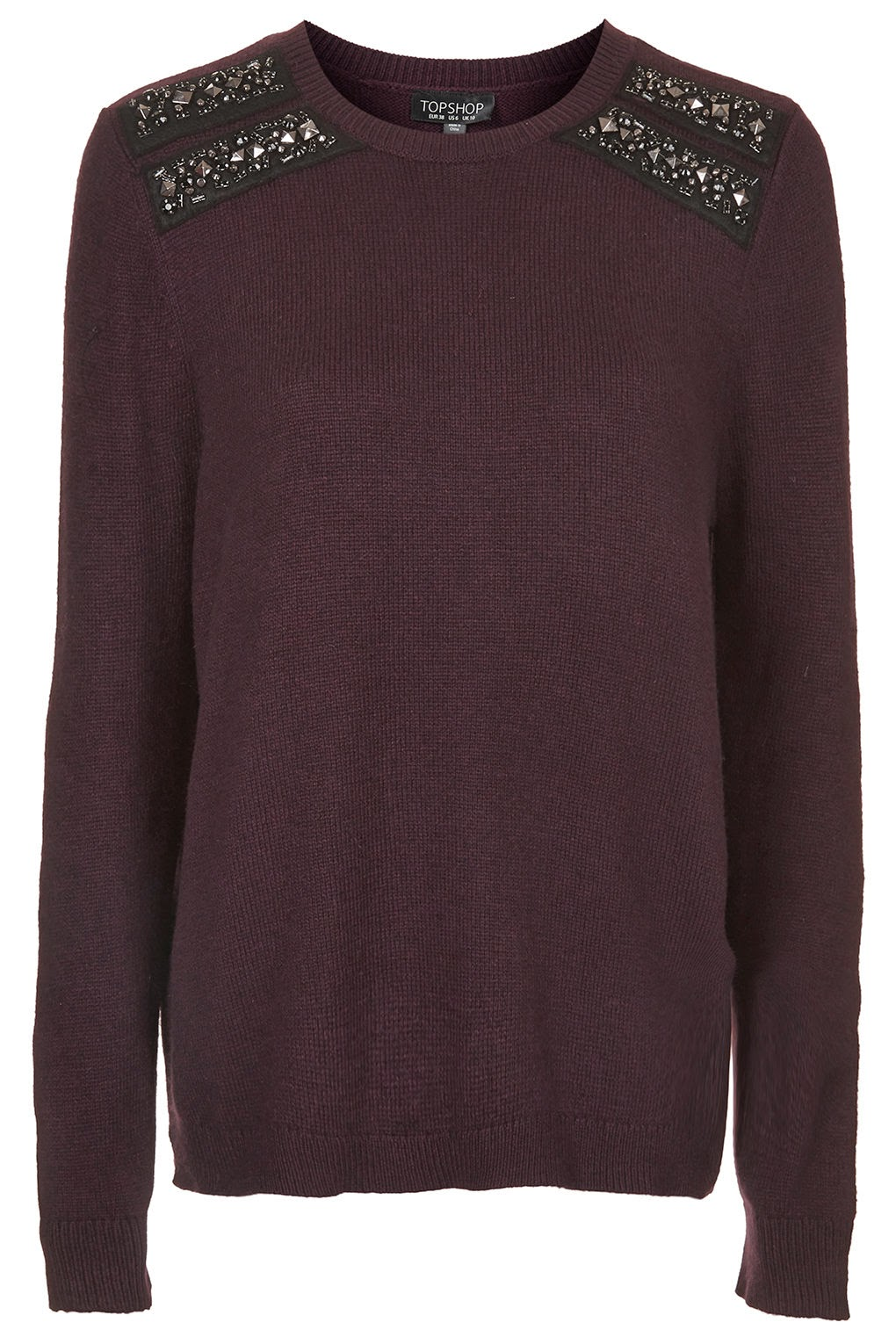 burgundy jumper with shoulder decoration