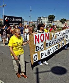 Manifestación de funcionarios de Justicia en Pontevedra. capotillo