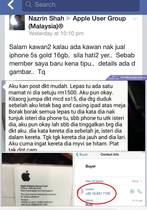 (Penipu) 016 6577109 - Hati-hati Dengan Buyer iPhone Ni